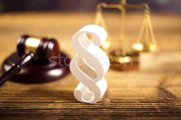 Hammer Gericht Absatz Zeichen Holz Gerechtigkeit Stock foto © JanPietruszka