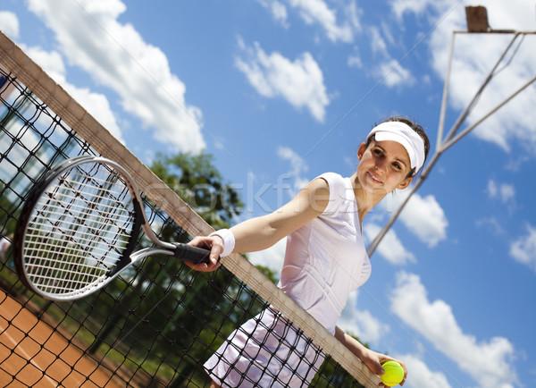 девушки играет теннисный корт женщину весело молодые Сток-фото © JanPietruszka