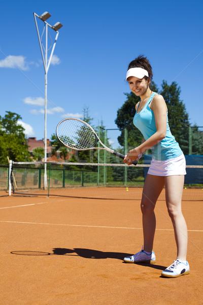 Girl Playing Tennis, natural colorful tone Stock photo © JanPietruszka