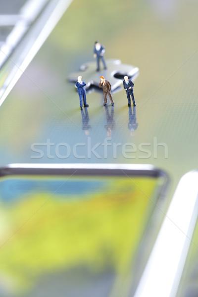 Crazy imprenditore moderno rete simboli puzzle Foto d'archivio © JanPietruszka
