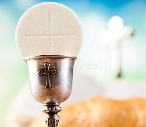 Szent úrvacsora kenyér bor fényes könyv Stock fotó © JanPietruszka