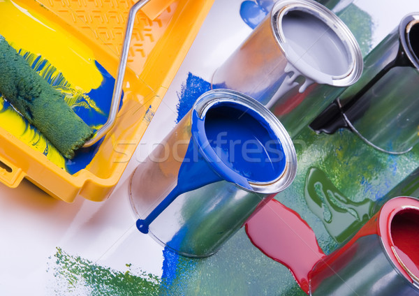 Paint, cans, brush, bright colorful tone concept Stock photo © JanPietruszka