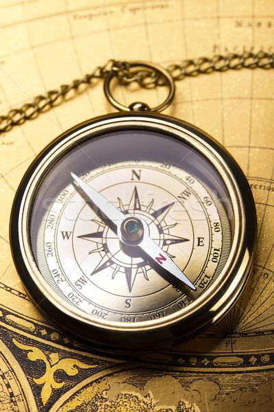 Detail kompas papier kaart achtergrond Stockfoto © JanPietruszka