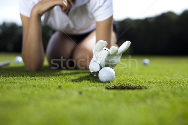 Сток-фото: девушки · играет · гольф · ярко · красочный · яркий