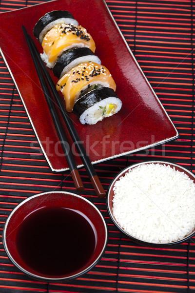 Szusi ízletes hagyományos japán étel hal asztal Stock fotó © JanPietruszka