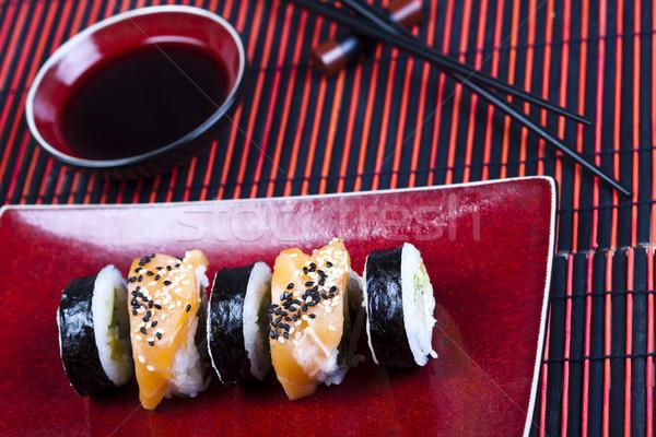 Geleneksel japon gıda sushi balık tablo bambu Stok fotoğraf © JanPietruszka
