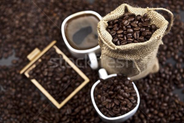Kávé élénk fényes textúra étel keret Stock fotó © JanPietruszka