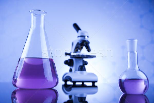 Laboratório trabalhar lugar microscópio artigos de vidro educação Foto stock © JanPietruszka
