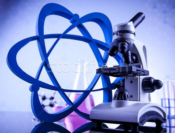 Tudomány vegyi laboratórium üvegáru egészség kék Stock fotó © JanPietruszka