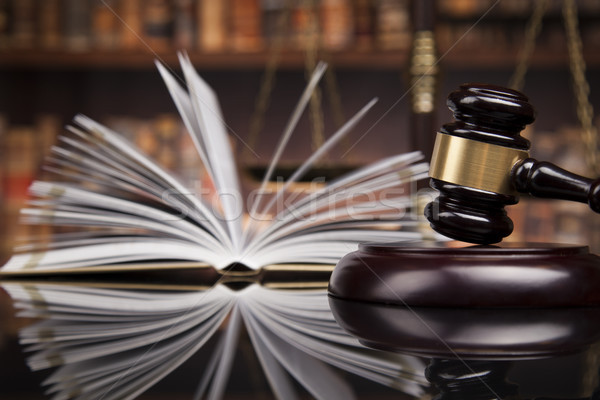 Law books, mallet of the judge, Courtroom background Stock photo © JanPietruszka