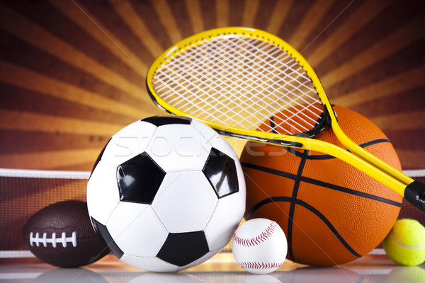 Equipamentos esportivos luz do sol futebol esportes tênis beisebol Foto stock © JanPietruszka