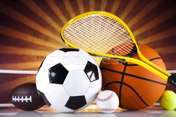 Artículos deportivos sol fútbol deporte tenis béisbol Foto stock © JanPietruszka