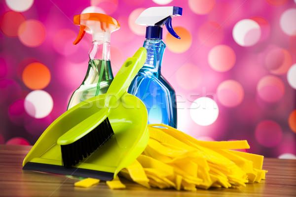 Schoonmaken home werk kleurrijk groep fles Stockfoto © JanPietruszka
