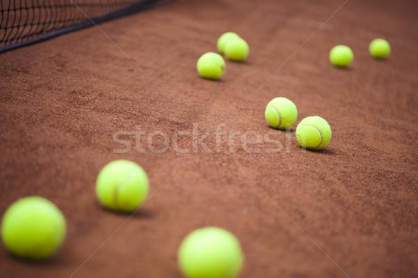 Tennisracket rechter achtergrond sport aarde Stockfoto © JanPietruszka