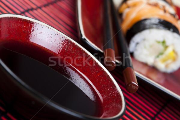 Szusi keleti konyha színes hal asztal bambusz Stock fotó © JanPietruszka