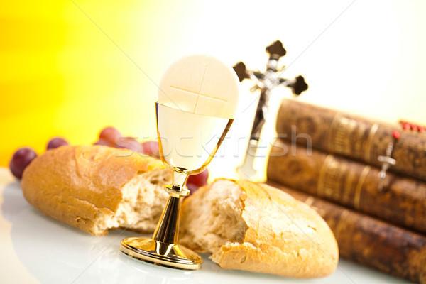 Stock fotó: Szent · úrvacsora · fényes · Jézus · kenyér · Biblia