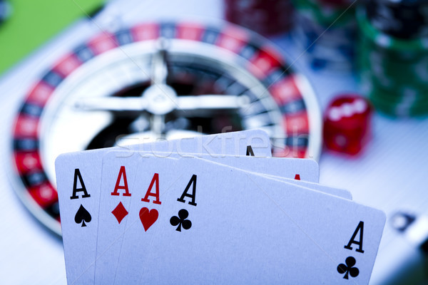 Casino, Roulette and Chips, elegant gambling theme Stock photo © JanPietruszka