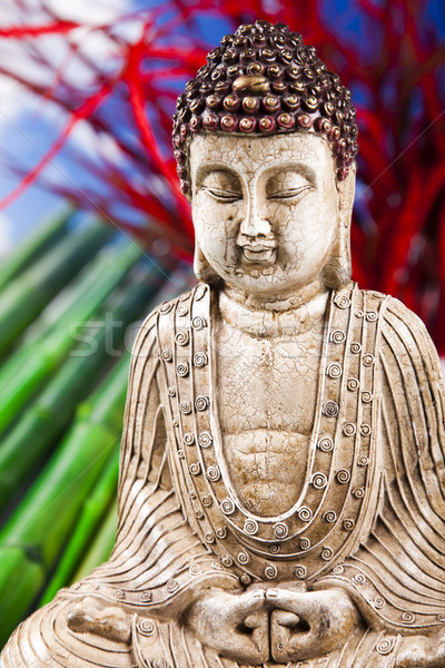 Stilleven buddha standbeeld bamboe zon rook Stockfoto © JanPietruszka