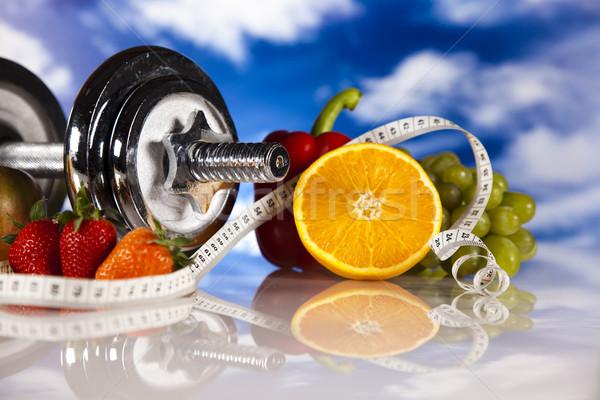Diéta fitnessz étel gyümölcs egészség háttér Stock fotó © JanPietruszka