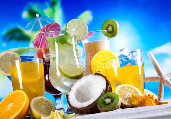 Foto stock: álcool · bebidas · conjunto · frutas · comida · laranja