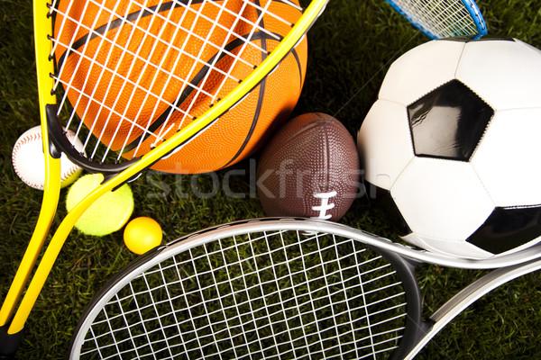 Jogo equipamentos esportivos naturalismo colorido esportes futebol Foto stock © JanPietruszka