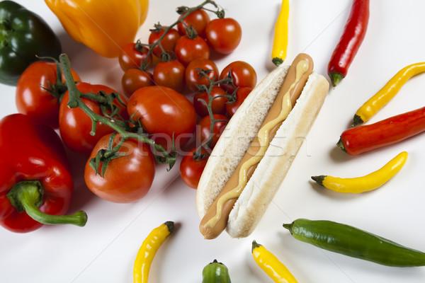 Isolated hot dog, bright colorful vivid theme Stock photo © JanPietruszka