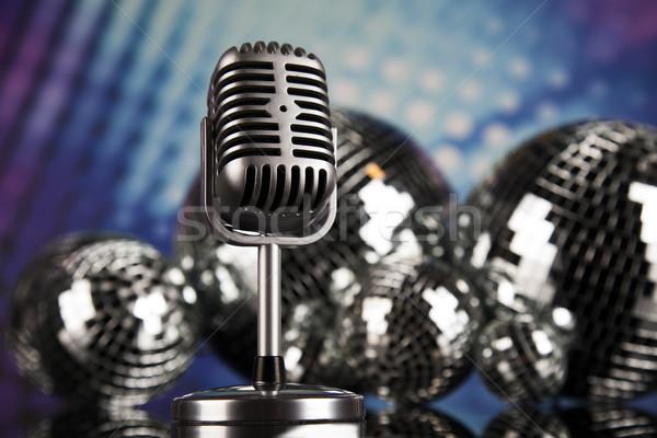 W stylu retro mikrofon muzyki disco tle Zdjęcia stock © JanPietruszka