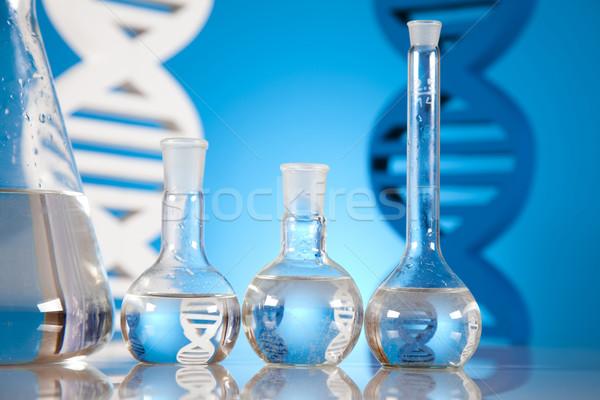 Stock photo: DNA molecules, Chemistry formula background