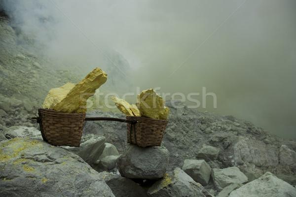 Kosár vulkán Indonézia természet füst tó Stock fotó © JanPietruszka