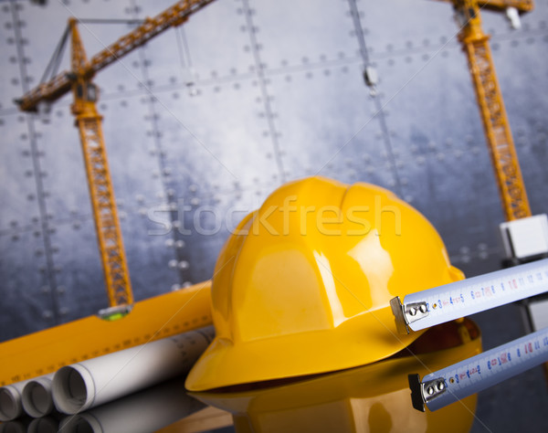 Gebouwen bouw gebouw kraan blauwdrukken business Stockfoto © JanPietruszka