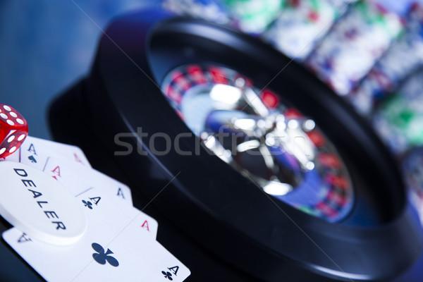 Poker chips casino roulette divertimento nero Foto d'archivio © JanPietruszka