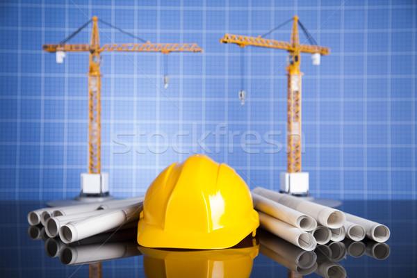 Edifício guindaste blueprints negócio financiar Foto stock © JanPietruszka