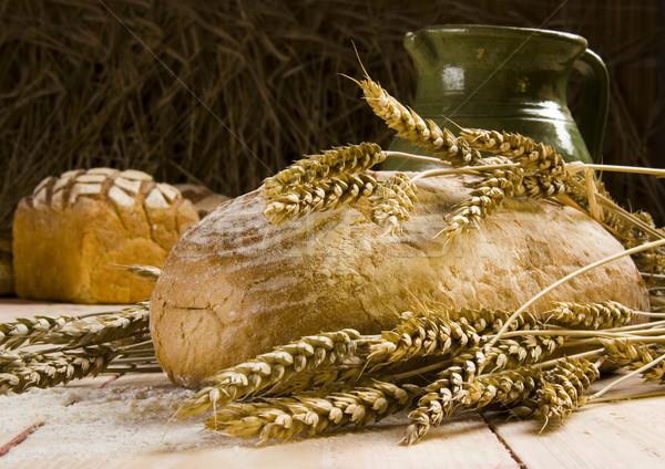 Organik gıda ekmek kırsal arka plan kahvaltı yeme Stok fotoğraf © JanPietruszka