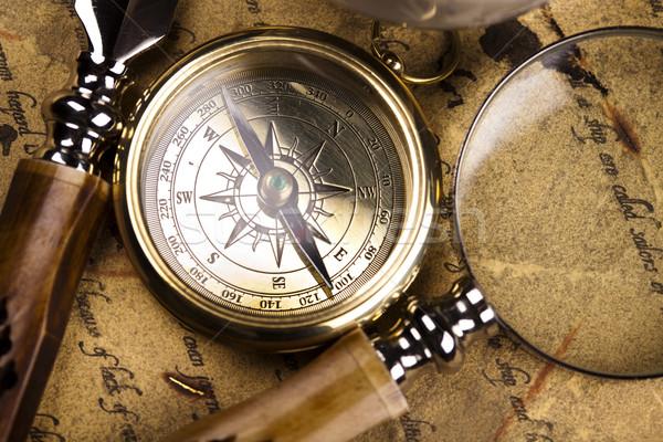 Stock photo: Detail closeup compass