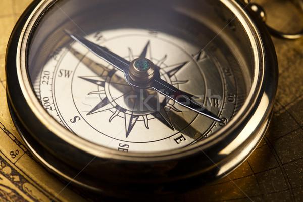 Compass on old map Stock photo © JanPietruszka