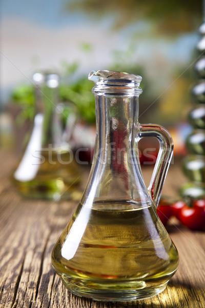Vers olijfolie middellandse zee landelijk blad glas Stockfoto © JanPietruszka