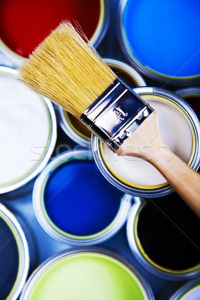 Stock fotó: Festék · ecset · fényes · színes · absztrakt · terv