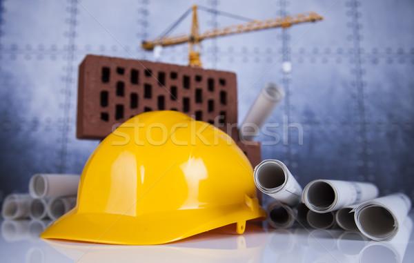 Edifícios construção edifício guindaste blueprints negócio Foto stock © JanPietruszka