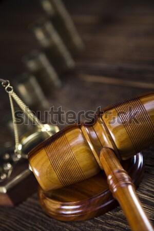Photo stock: Justice · droit · studio · bois · marteau · blanche