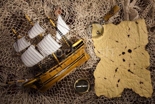 Stockfoto: Kompas · oud · papier · papier · kaart · achtergrond · reizen