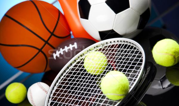 Grupo equipamentos esportivos futebol esportes tênis beisebol Foto stock © JanPietruszka