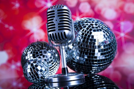 Retro style microphone, Music background, music saturated concept Stock photo © JanPietruszka