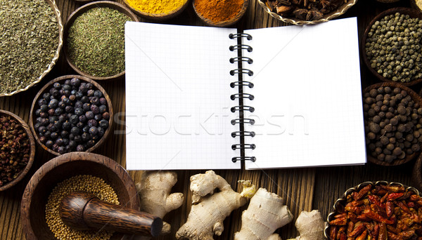 Książka kucharska różny przyprawy kuchnia żywy czerwony Zdjęcia stock © JanPietruszka
