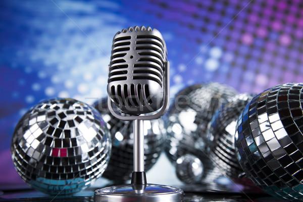 Foto stock: Estilo · retro · microfone · música · vintage · fundo · notícia