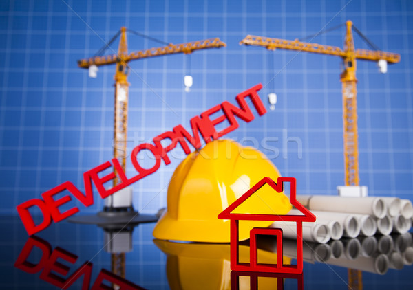 Développement bâtiments construction grue blueprints Photo stock © JanPietruszka