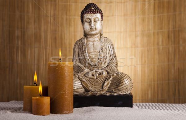 Zen buddha statue soleil fumée détendre Photo stock © JanPietruszka