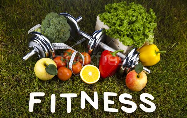 Vitamin fitnessz diéta zöld fű egészség testmozgás Stock fotó © JanPietruszka