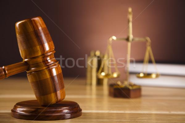Stock fotó: Bíró · kalapács · fa · törvény · kalapács · fehér
