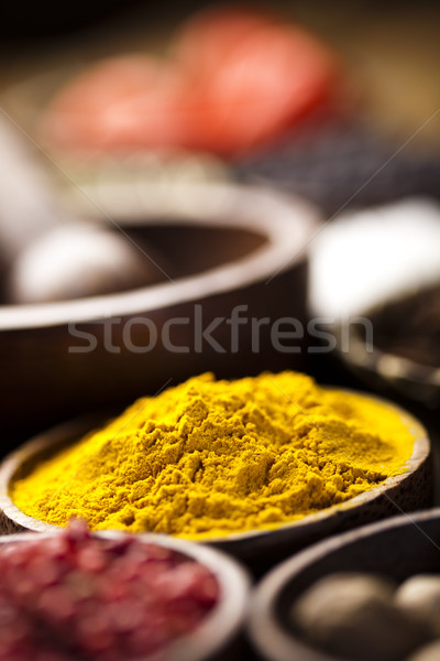чаши Spice кухня яркий красный Сток-фото © JanPietruszka