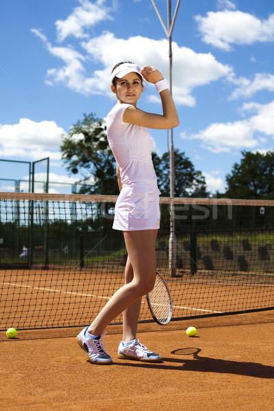 Mulher jogar tênis verão diversão jovem Foto stock © JanPietruszka